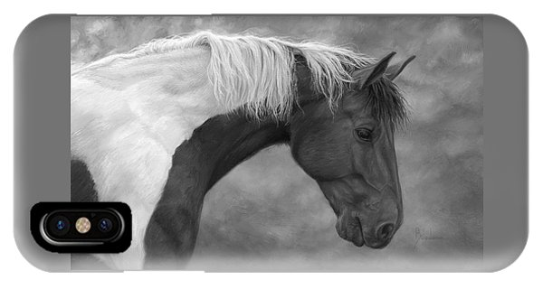 Equine iPhone Case - Intrigued - Black And White by Lucie Bilodeau