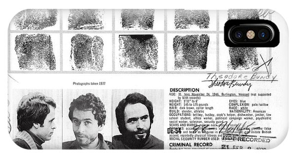 Ted Bundy iPhone Case - Investigator's Copy - Ted Bundy Wanted Document  1978 by Daniel Hagerman