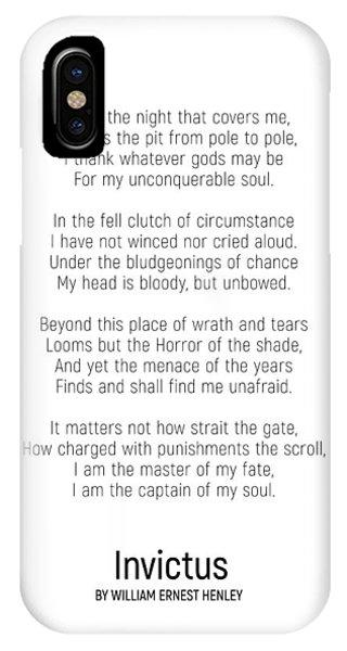 Invictus By William Ernest Henley #minimalist #poem  IPhone Case