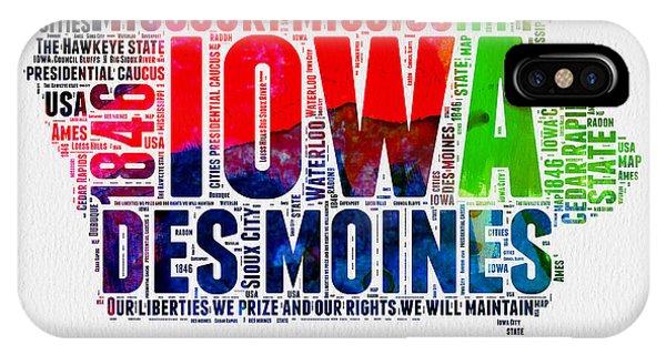 Iowa Watercolor Word Cloud  IPhone Case