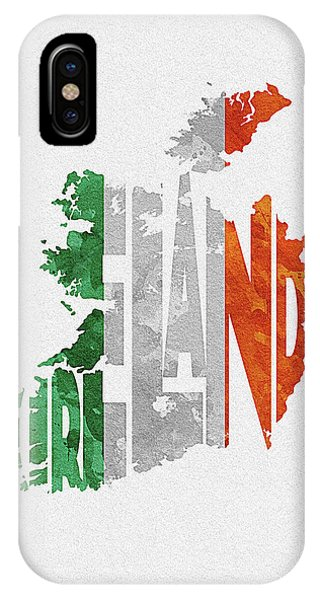 Irish iPhone Case - Ireland Typographic Map Flag by Inspirowl Design