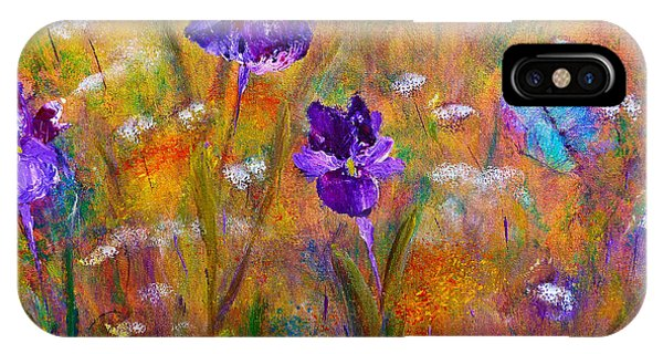 Iris Wildflowers And Butterfly IPhone Case