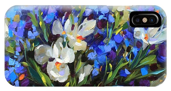 iPhone Case - Irises And Blue Glass by Nancy Medina