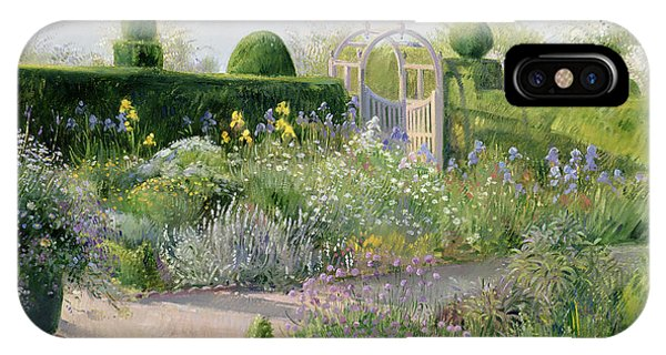 Greenery iPhone Case - Irises In The Herb Garden by Timothy Easton