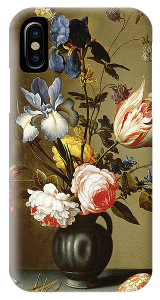 Irises, Roses, Columbine, Hyacinth And A Tulip In A Black Pottery Pitcher IPhone Case