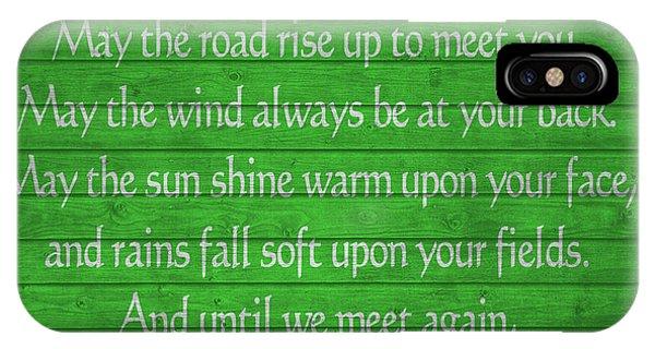 St. Patricks Day iPhone Case - Irish Blessing Green Barn Door by Dan Sproul