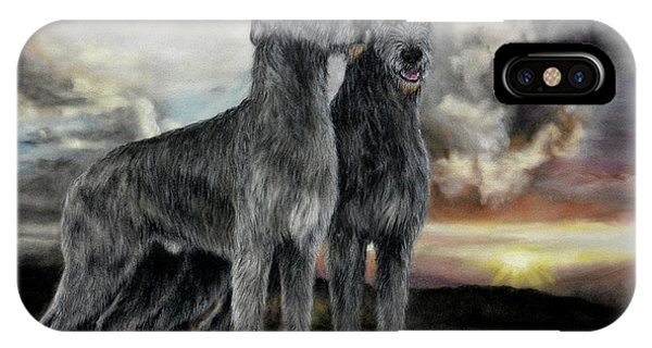 Irish iPhone Case - Irish Wolfhound Pair - Majestic Irish Sunset by Sandi Rolfe