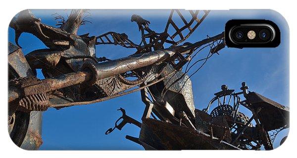 Iron Motorcycle Sculpture In Faro IPhone Case