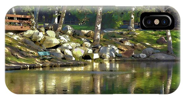 Park Bench iPhone Case - Irvine Park Lake Abstract 1 by Linda Brody