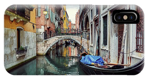 Gondola Parked On Lonely Water Canal In Venice, Italy IPhone Case