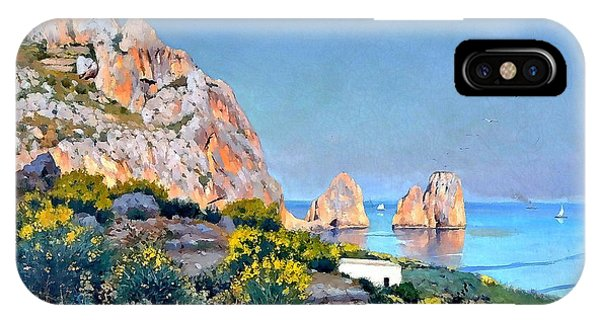 IPhone Case featuring the painting Island Of Capri - Gulf Of Naples by Rosario Piazza