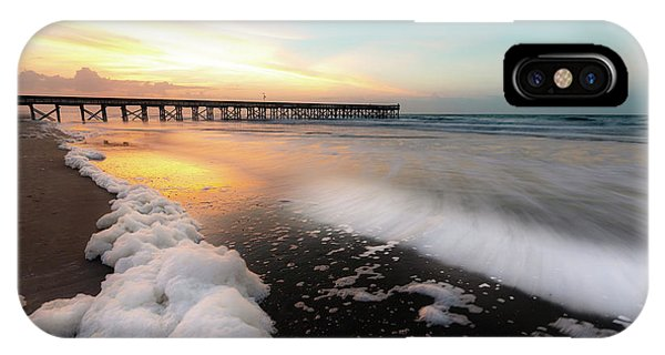 Isle Of Palms Pier Sunrise And Sea Foam IPhone Case