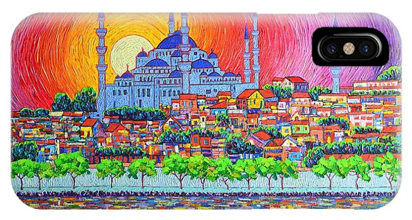 Istanbul Blue Mosque Sunset Modern Impressionist Palette Knife Oil Painting By Ana Maria Edulescu    IPhone Case