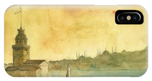 Turkey iPhone Case - Istanbul Maiden Tower by Juan Bosco