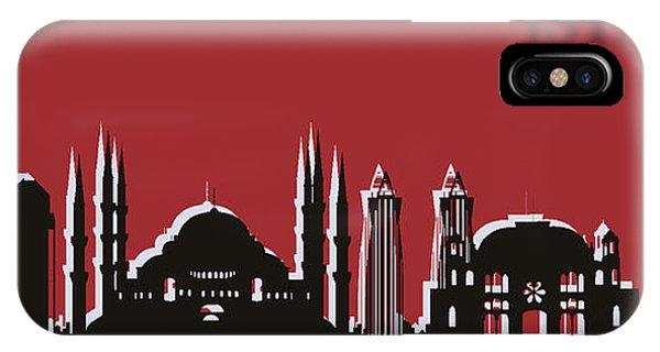Traveler iPhone Case - Istanbul Skyline Silhouette Pop Art by Dan Sproul