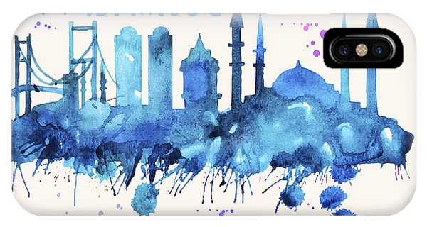 Istanbul Skyline Watercolor Poster - Cityscape Painting Artwork IPhone Case