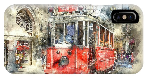 Istanbul Turkey Red Trolley Digital Watercolor On Photograph IPhone Case