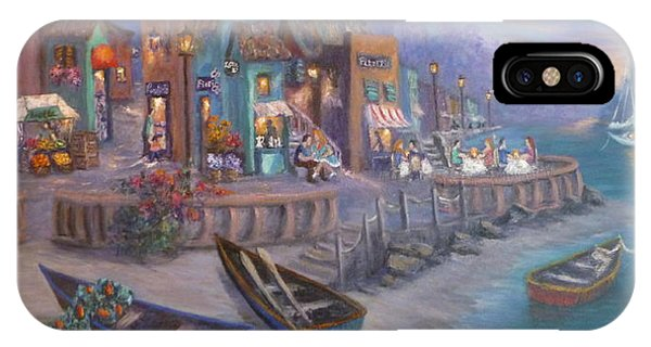 Italy Tuscan Decor Painting Seascape Village By The Sea IPhone Case