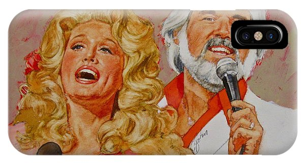 IPhone Case featuring the painting Its Country - 8  Dolly Parton Kenny Rogers by Cliff Spohn