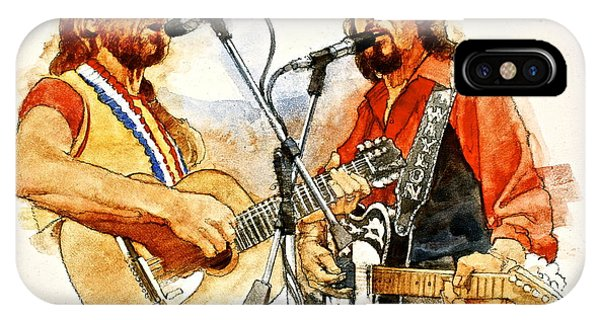IPhone Case featuring the painting Its Country - 7  Waylon Jennings Willie Nelson by Cliff Spohn