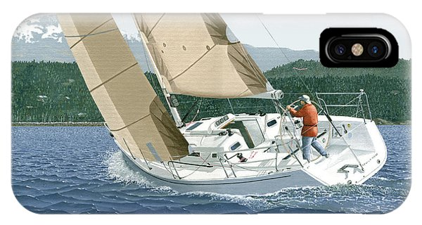 J-109 Sailboat Off Comox B.c. IPhone Case