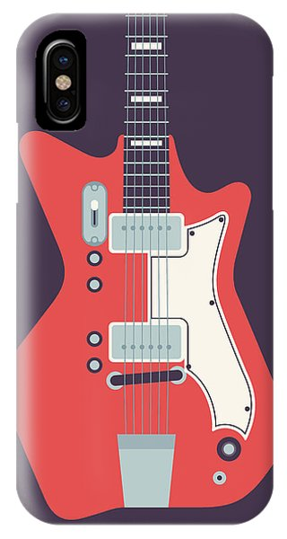 Electric Guitar iPhone Case - 60's Electric Guitar - Black by Ivan Krpan