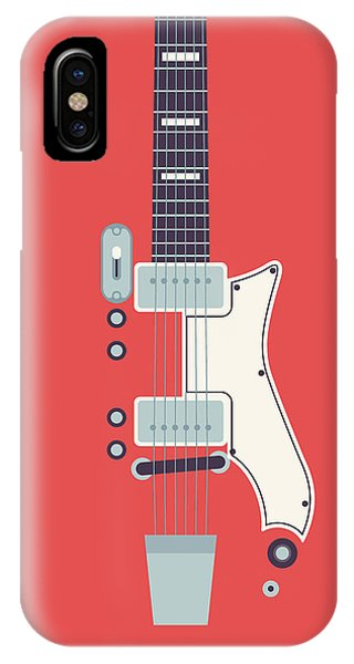 Electric Guitar iPhone Case - 60's Electric Guitar - Red by Ivan Krpan