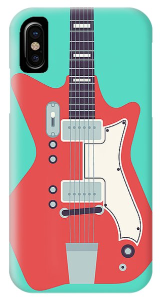 Airline iPhone Case - 60's Electric Guitar - Teal by Ivan Krpan