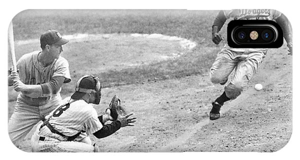Jackie Robinson Stealing Home Yogi Berra Catcher In 1st Game 1955 World Series IPhone Case