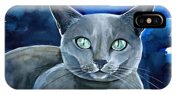 Jackpot - Russian Blue Cat Painting IPhone Case