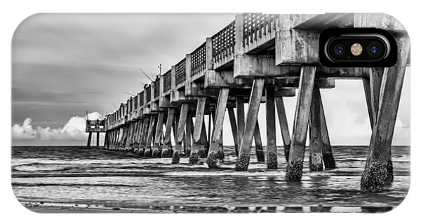 Jacksonville Beach Pier In Black And White IPhone Case