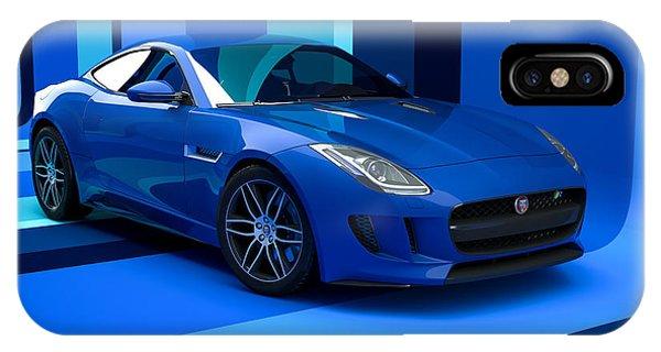 Jaguar F-type - Blue Retro IPhone Case
