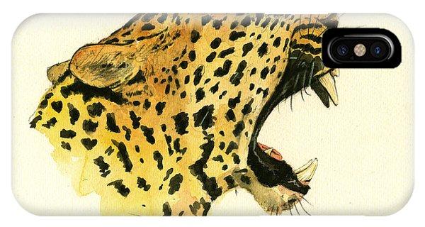 Leopard iPhone Case - Jaguar Head Painting Watercolor by Juan  Bosco
