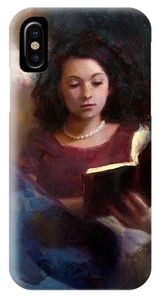 Jaidyn Reading A Book 1 - Portrait Of Young Woman - Girls Who Read - Books In Art IPhone Case