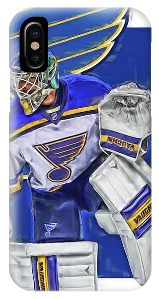 Winter iPhone Case - Jake Allen St Louis Blues Oil Art by Joe Hamilton