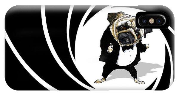James Bond Pug Caricature Art Print IPhone Case