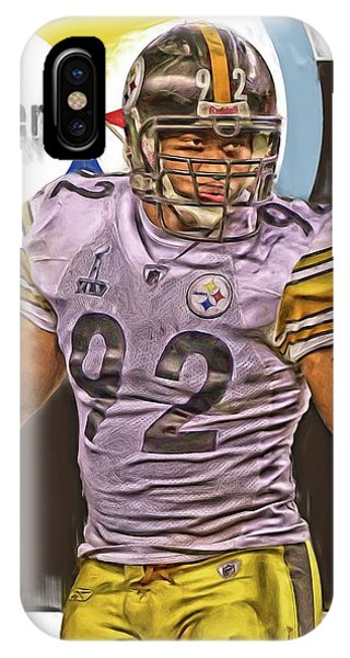 Harrison iPhone Case - James Harrison Pittsburgh Steelers Oil Art by Joe Hamilton