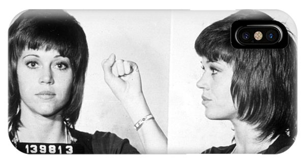 Protest iPhone Case - Jane Fonda Mug Shot Horizontal by Tony Rubino