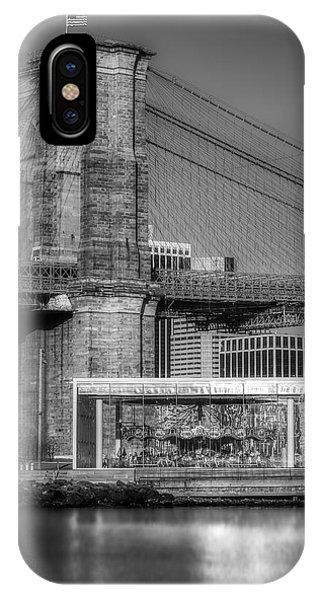 Jane's Carousel Brooklyn Bridge Bw IPhone Case