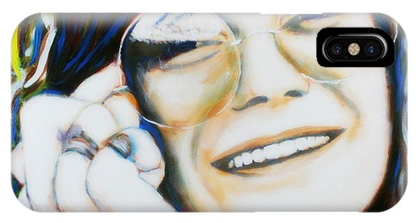 IPhone Case featuring the painting Janis Joplin Pop Art Portrait by Bob Baker