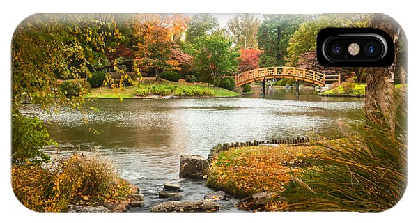 Japanese Garden Bridge Fall IPhone Case
