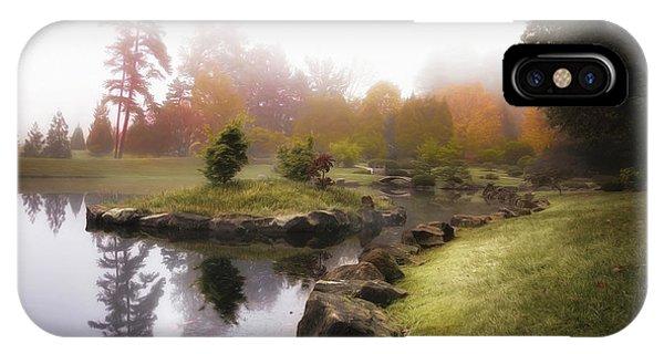 Foliage iPhone Case - Japanese Garden In Early Autumn Fog by Tom Mc Nemar