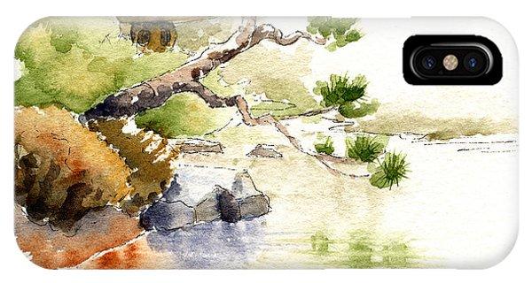 Japanese Garden Pond Sketch IPhone Case