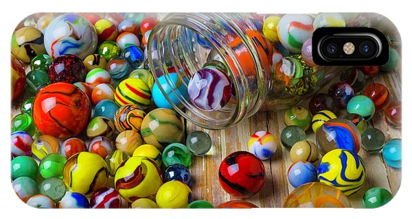 Novelty iPhone Case - Jar Spilling Colorful Marbles by Garry Gay