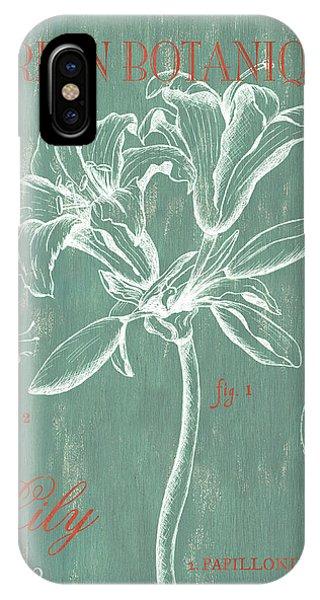 Floral iPhone X Case - Jardin Botanique Aqua by Debbie DeWitt