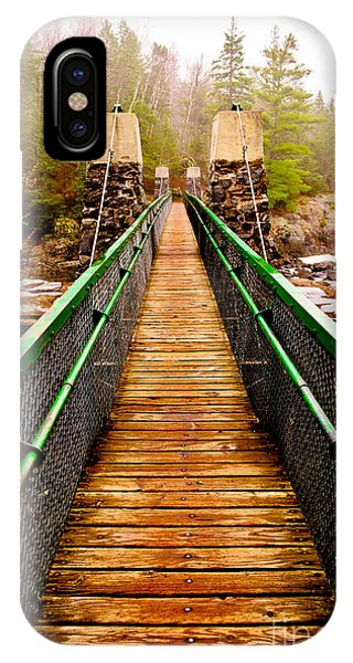 Jay Cooke Swinging Bridge In Fog IPhone Case