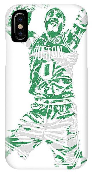 Celtics iPhone Case - Jayson Tatum Boston Celtics Pixel Art 11 by Joe Hamilton
