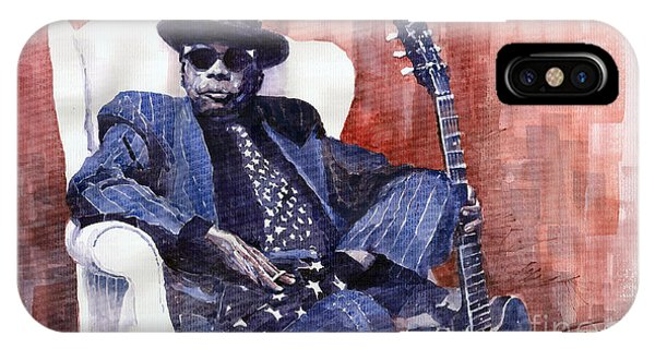 Portret iPhone Case - Jazz Bluesman John Lee Hooker 02 by Yuriy Shevchuk