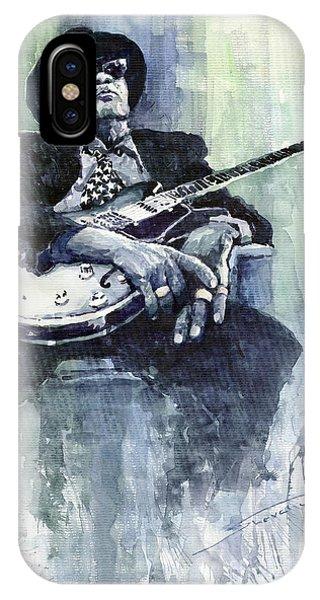 Portret iPhone Case - Jazz Bluesman John Lee Hooker 04 by Yuriy Shevchuk
