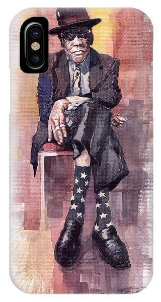 Legends Music iPhone Case - Jazz Bluesman John Lee Hooker by Yuriy Shevchuk